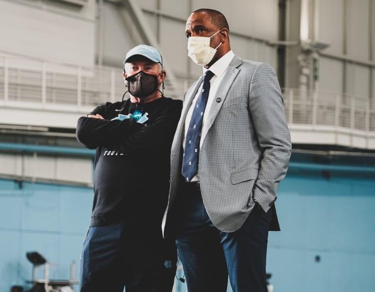 Hubert Davis Visits UNC Football Spring Practice