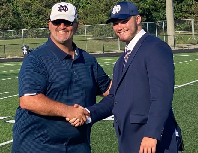 Notre Dame offensive tackle commit Rocco Spindler with his father, Marc