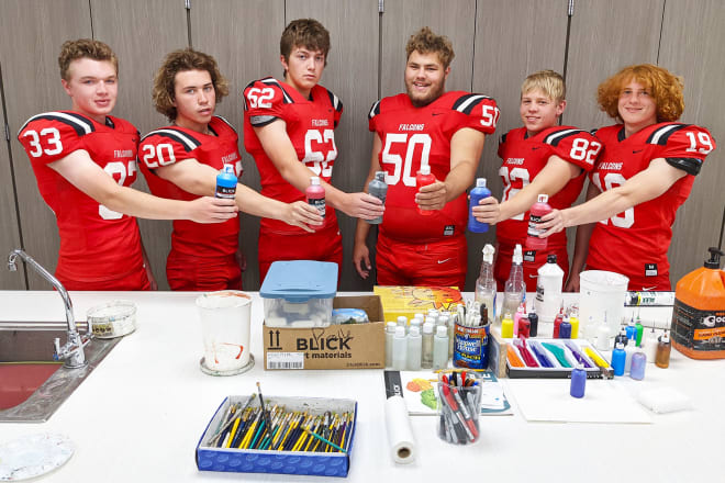 Hoping to paint a winning picture for 2021 Douglas County West football are these guys: (left to right) Clyde Stenglein (33), Matthew Beck (20), Cael Dembinski (62), Neil Hartman (50), Nick Stanzel (82) and