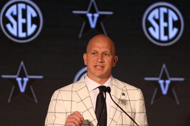 Vanderbilt coach Clark Lea speaks at SEC Media Days Wednesday n Hoover, Ala.