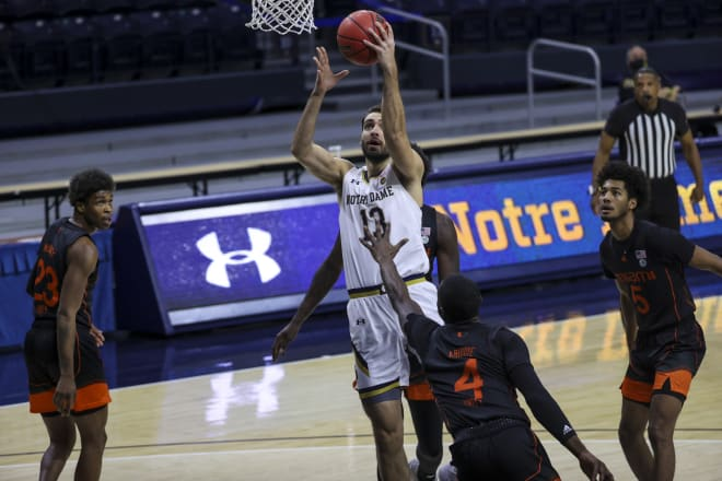 Nik Djogo scored a season-high 18 points in Notre Dame's win over Miami Sunday night.
