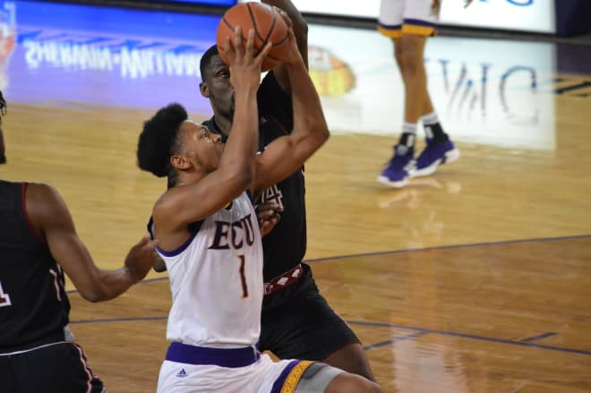 ECU's Jayden Gardner drives in the paint for two of his game high 27 points Wednesday night in Minges Coliseum.