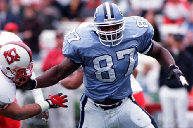 Greg Ellis not only is UNC's all-time leader in sacks, but he's one of its best overall defensive linemen ever.