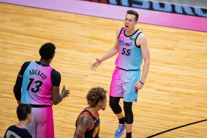Former Michigan Wolverines basketball standout Duncan Robinson is averaging 13.1 points per game this season for the Miami Heat.