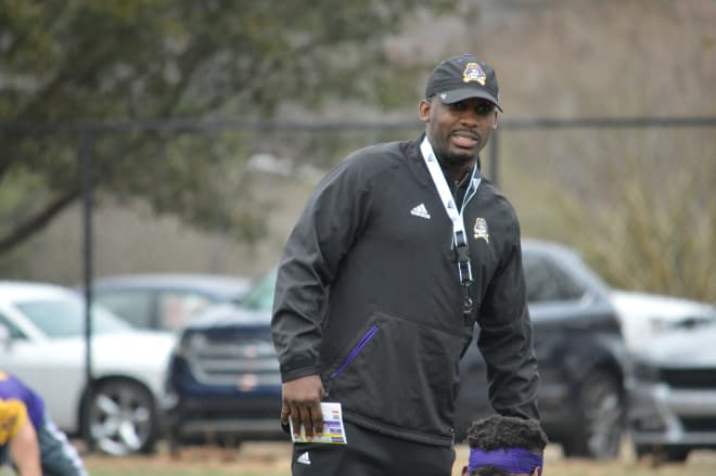 Third year ECU head football coach Scottie Montgomery ran a tight ship in Monday's first day of spring camp.