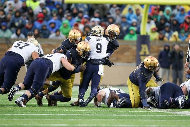 Navy's ball control limited Notre Dame to seven series on offense in 2017 and six in 2016.