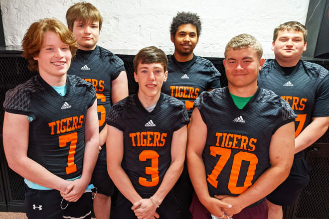These are the guys who are going to make it happen at dear old Falls City High next fall. (Front, left to right) Carson Simon (7), Rayce Farmer (3), Justin Brewer (70); (back, l-r) Jaden Nolte (66), Stiephan Fields (67) and Jon Craig (77).