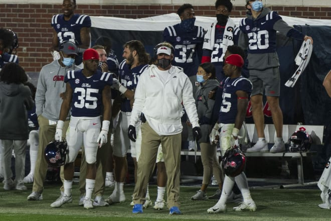 Lane Kiffin coaches during the second half of Ole Miss' 31-24 win over Mississippi State Saturday.