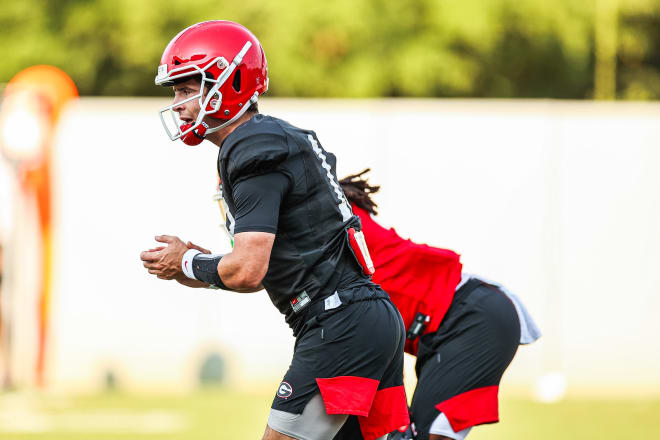 Stetson Bennett takes his reps during Tuesday's practice.