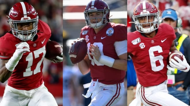 Jaylen Waddle, Mac Jones, and DeVonta Smith all return for the Crimson Tide in 2020 | Getty Images