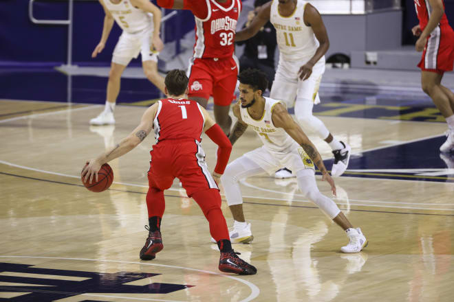 Notre Dame junior guard Prentiss Hubb versus Ohio State on Dec. 8, 2020