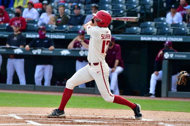 Brady Slavens hit a three-run home run in Wednesday's win over Little Rock.