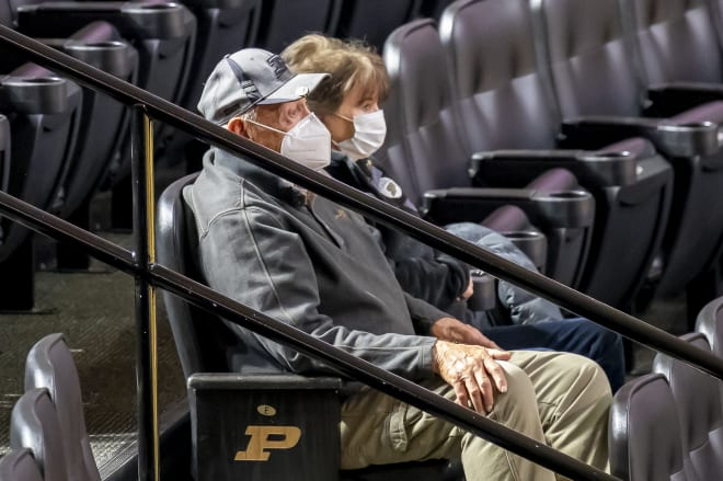 Coach Gene Keady and wife Kathleen took in Purdue's hard fought three-point win over Wisconsin.