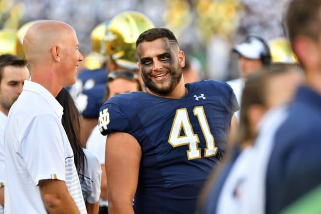 Notre Dame Fighting Irish football graduate student defensive lineman Kurt Hinish