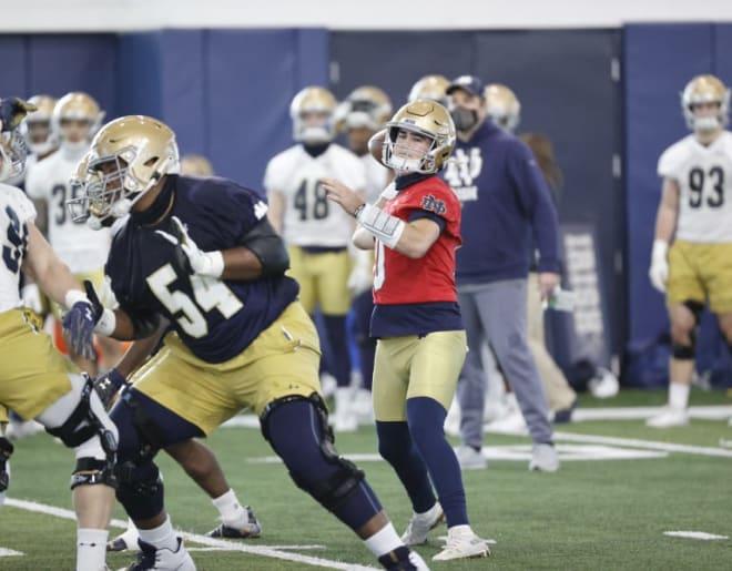Notre Dame Fighting Irish football sophomore quarterback Drew Pyne and freshman offensive tackle Blake Fisher