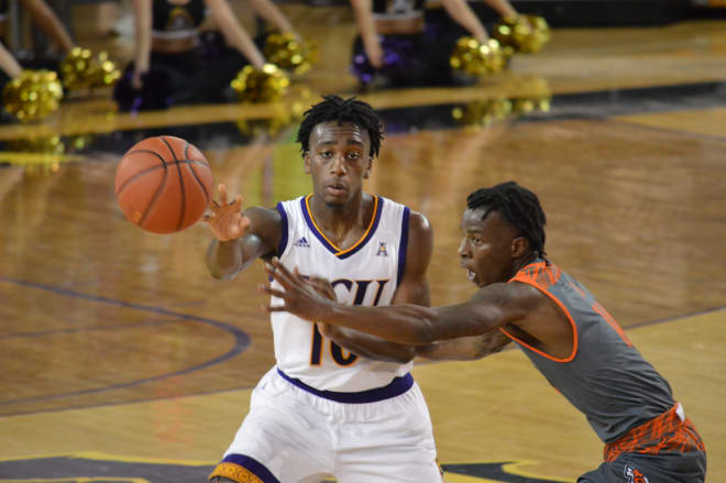 Tae Hardy operates in the ECU backcourt in the Pirates' 69-64 win over Texas-Rio Grande Valley.
