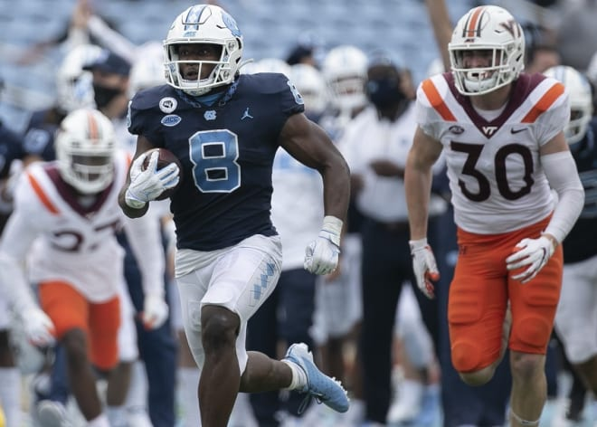 Michael Carter (pictured) and three other Tar Heels are on pace to pass last year's stats even in a shortened season.