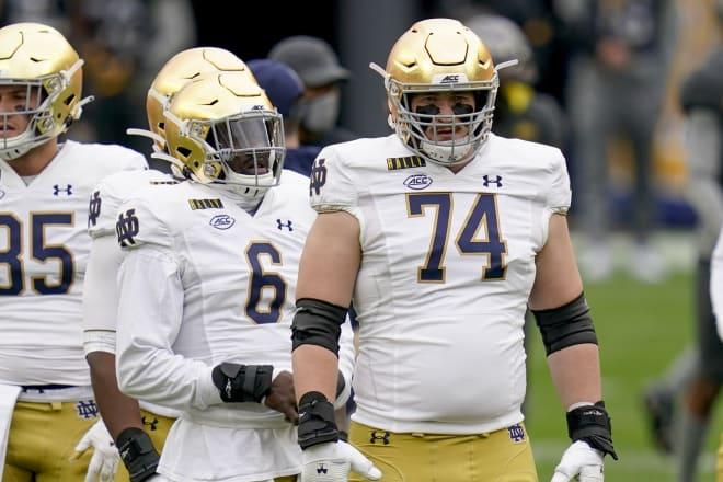 Notre Dame Fighting Irish football NFL Draft hopefuls Jeremiah Owusu-Koramoah and Liam Eichenberg