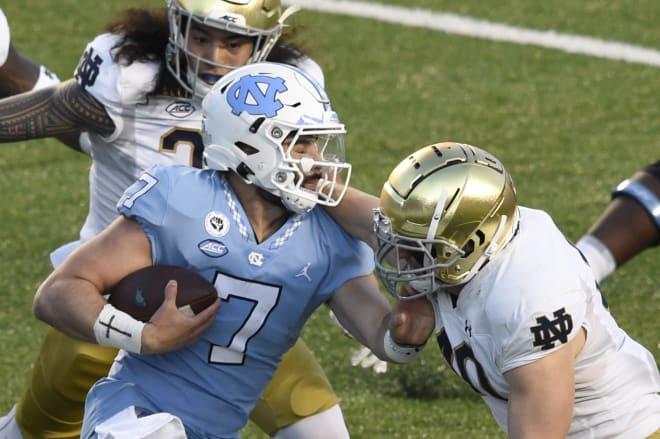 Notre Dame Fighting Irish football fifth-year senior linebacker Drew White