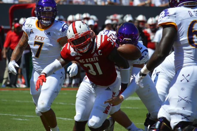 Holton Ahlers' first quarter fumble at the goal line took the air out of the ECU balloon momentum wise in a 34-6 loss to N.C. State.