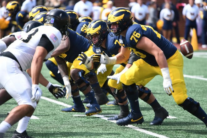 Michigan Wolverines football tackle Ryan Hayes and his cohorts on the offensive line are a work in progress