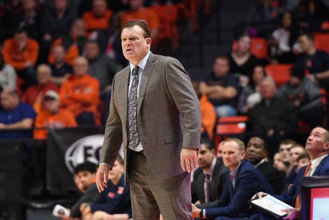 Illinois Head Coach Brad Underwood seems miffed that his teams game with Michigan Wolverines Basketball was postponed.