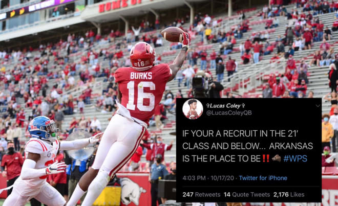 Razorback commits sound off on social media during Arkansas's performance against the Rebels.