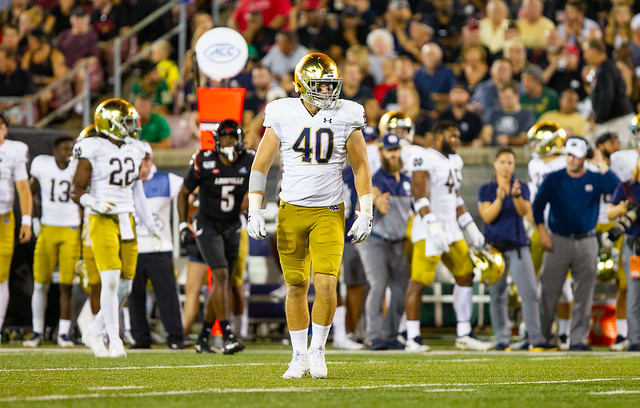 Notre Dame Fighting Irish football senior linebacker Drew White
