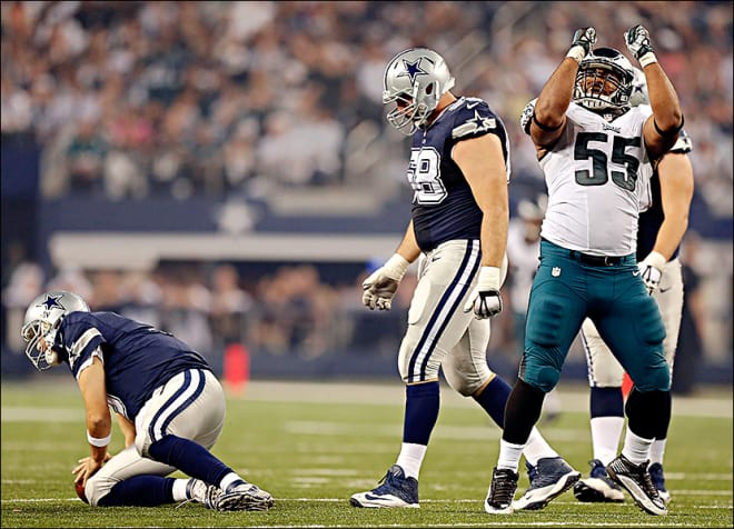 "Brandon Graham doing  the ""Blade Dance"" after sacking Tony Romo."