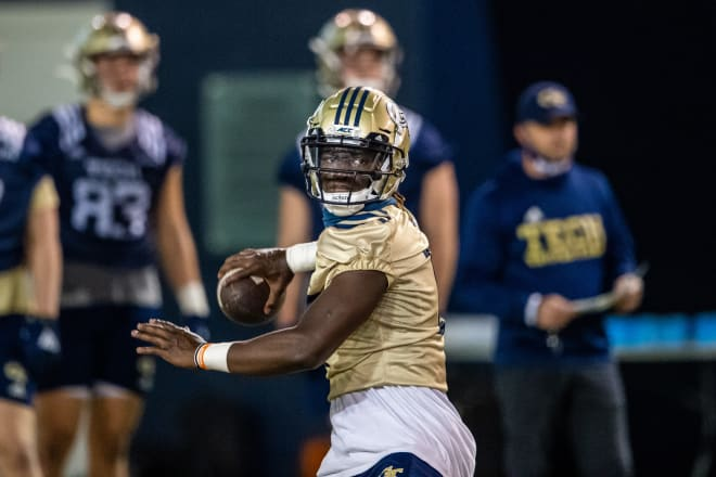 Knight during practice this week at QB
