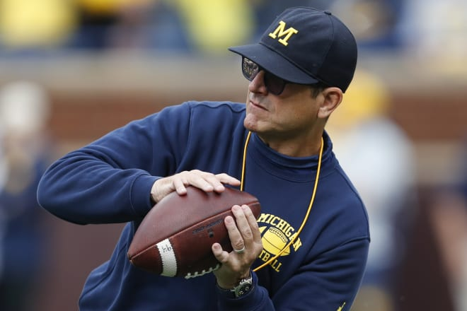 Michigan Wolverines football head coach Jim Harbaugh has won 49 games in six seasons (2020 was a shortened campaign) at U-M.