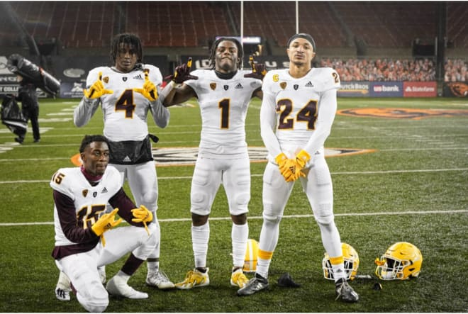 """Hawkins on the ASU DB's: """"The expectations for us as a unit are really high, I need everybody in the country to realize how good this secondary can be.""""(Sun Devil Athletics Photo)"""
