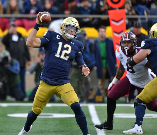 In addition to throwing 53 passes for 341 yards, Ian Book led the Irish in rushing against Virginia Tech with 50 yards and the game-winning touchdown.