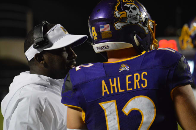 Scottie Montgomery and freshman quarterback Holton Ahlers discuss offensive strategy in ECU's 37-10 loss to UCF.