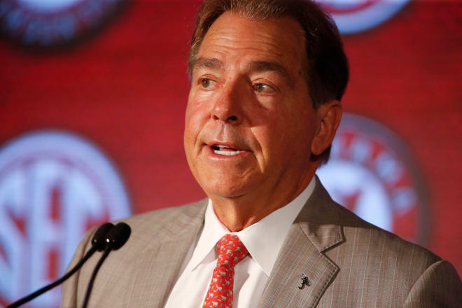 Alabama Head Coach Nick Saban addresses the assembled media in the Hyatt Regency at SEC Media Days in Hoover, Ala. Photo | USA Today