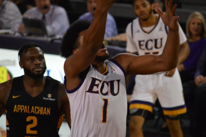 Jayden Gardner scores in the paint in ECU's 83-81 comeback win over Appalachian State Friday night.