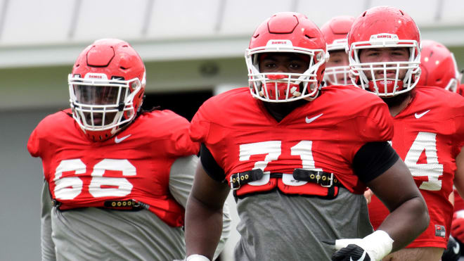 Andrew Thomas (71) will be Georgia's left tackle this fall.