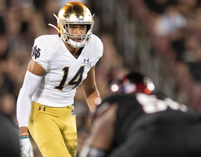 Notre Dame Fighting Irish football sophomore safety Kyle Hamilton
