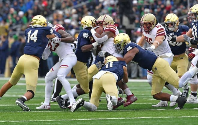 Notre Dame, a 40-7 year old high school last year, passed Boston College easily.