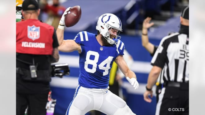 Jack Doyle celebrates a touchdown on Sunday. (Photo: colts.com)
