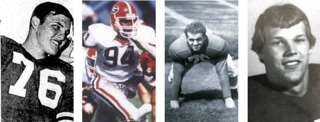 When it comes to names, there would be few starting defensive lines as imposing as Georgia's: (L to R) Jiggy Smaha, Wycliffe Lovelace, Rocco Principe, and Carlyle Hewatt.