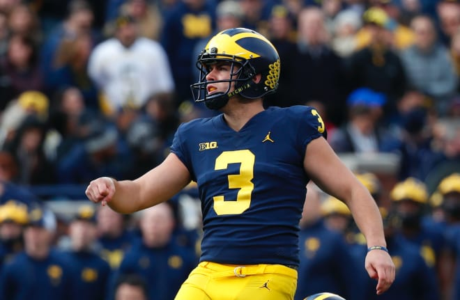 Michigan Wolverines football fifth-year senior kicker Quinn Nordin missed last week's game with an injury.