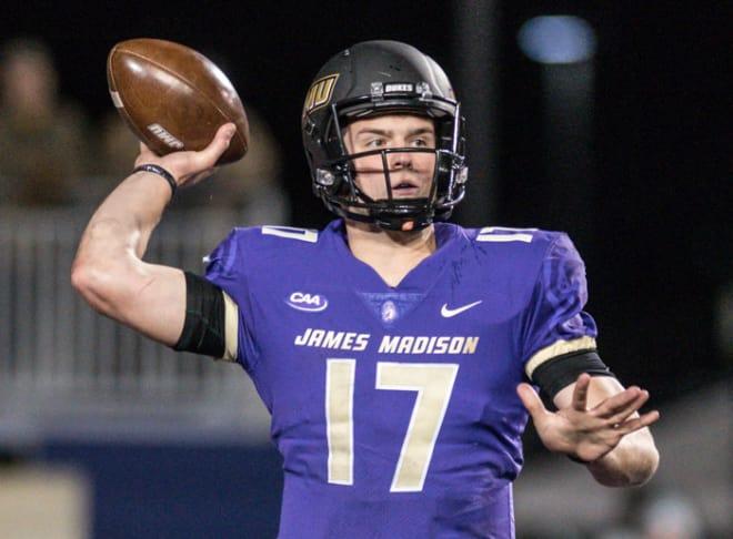James Madison senior quarterback Bryan Schor throw during the Dukes' quarterfinal win over Weber State last month in Harrisonburg.