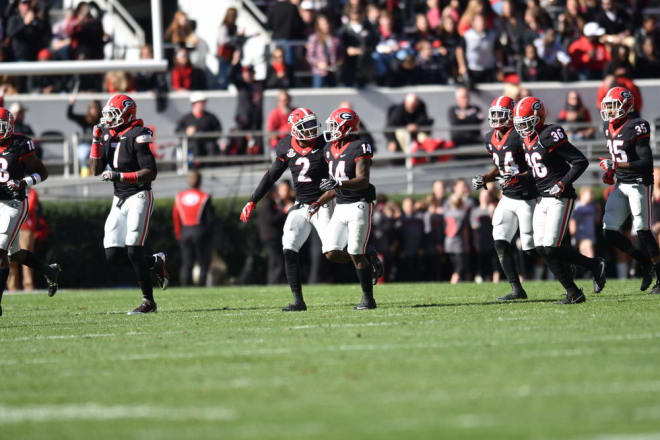 Georgia has 14 interceptions, two each by seven different players.