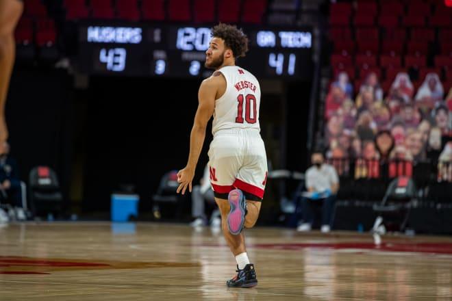 Nebraska senior guard Kobe Webster.
