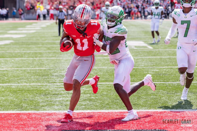 Smith-Njigba had 145 yards receiving and two touchdowns against the Ducks