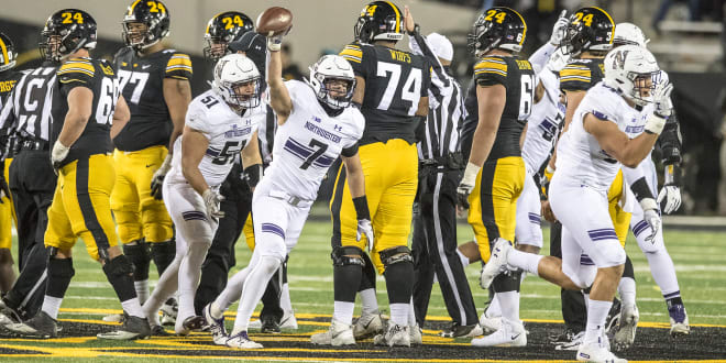 Travis Whillock celebrates a fumble recovery against Iowa in 2018.