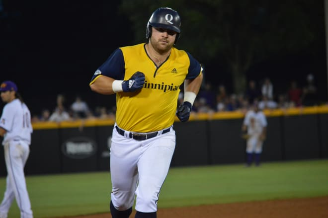 Liam Scafariello rounds the bases after his two-run homer in the seventh that proved to be the game winner for Quinnipiac.