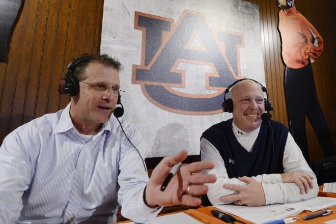 Rod Bramblett (right) with Auburn coach Gus Malzahn during a Tiger Talk segment.