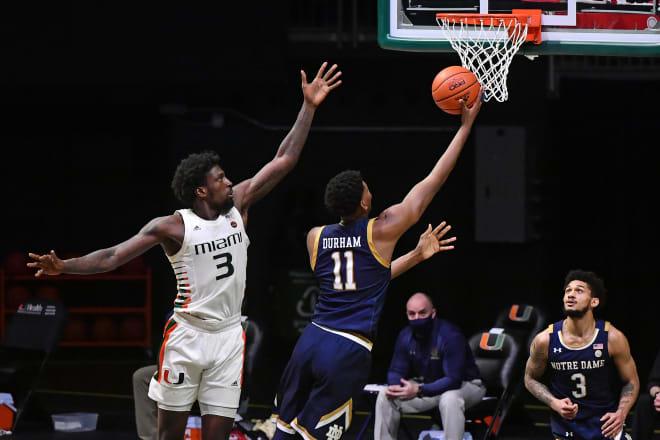 Notre Dame Fighting Irish men's basketball fifth-year senior forward Juwan Durham